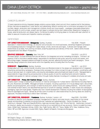 Art Director Sr Graphic Designer Resume Brooklyn Resume Studio Resumes Career Graphic Design Resume Resume Design Cover Letter Sample