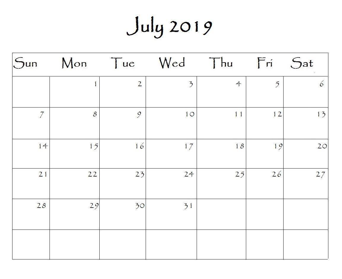 Free Printable 2019 Word Calendar Blank Monthly Calendar