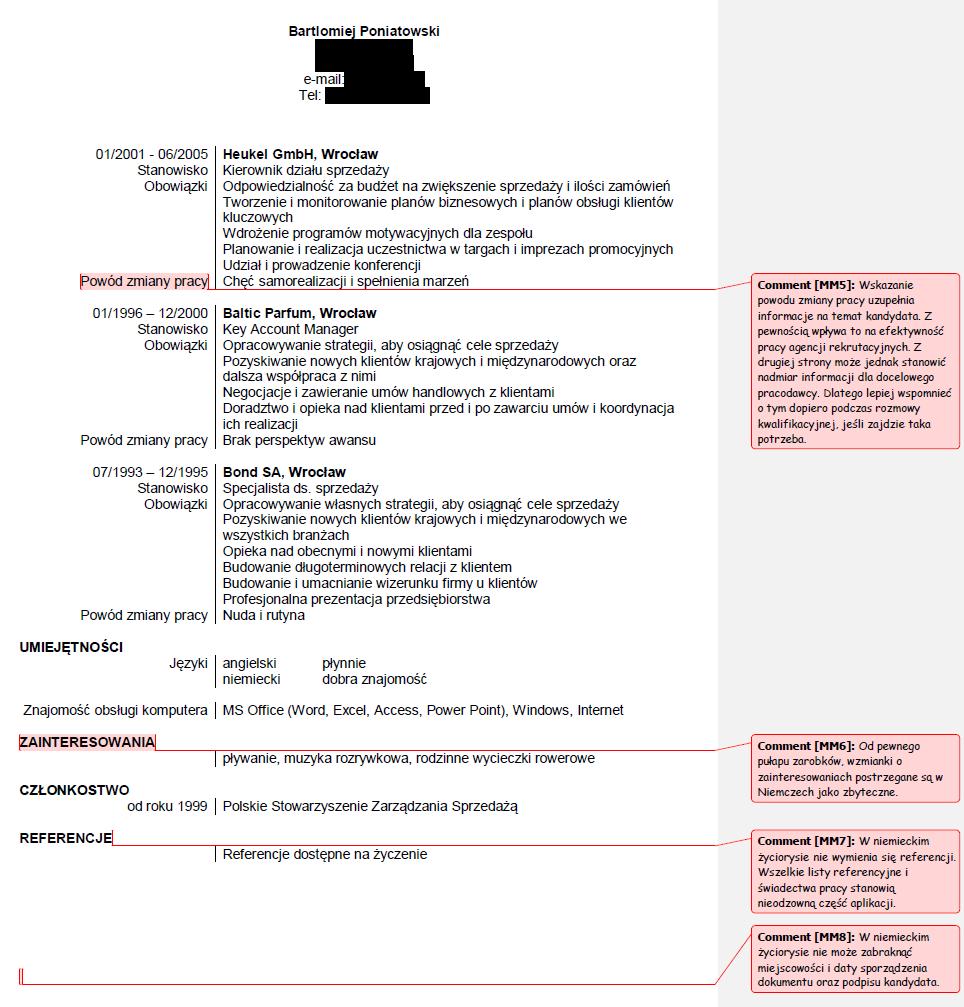 Curriculum Vitae W Języku Niemieckim Modelos de
