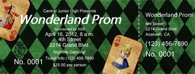 wonderland prom ticket prom decor ideas pinterest prom prom