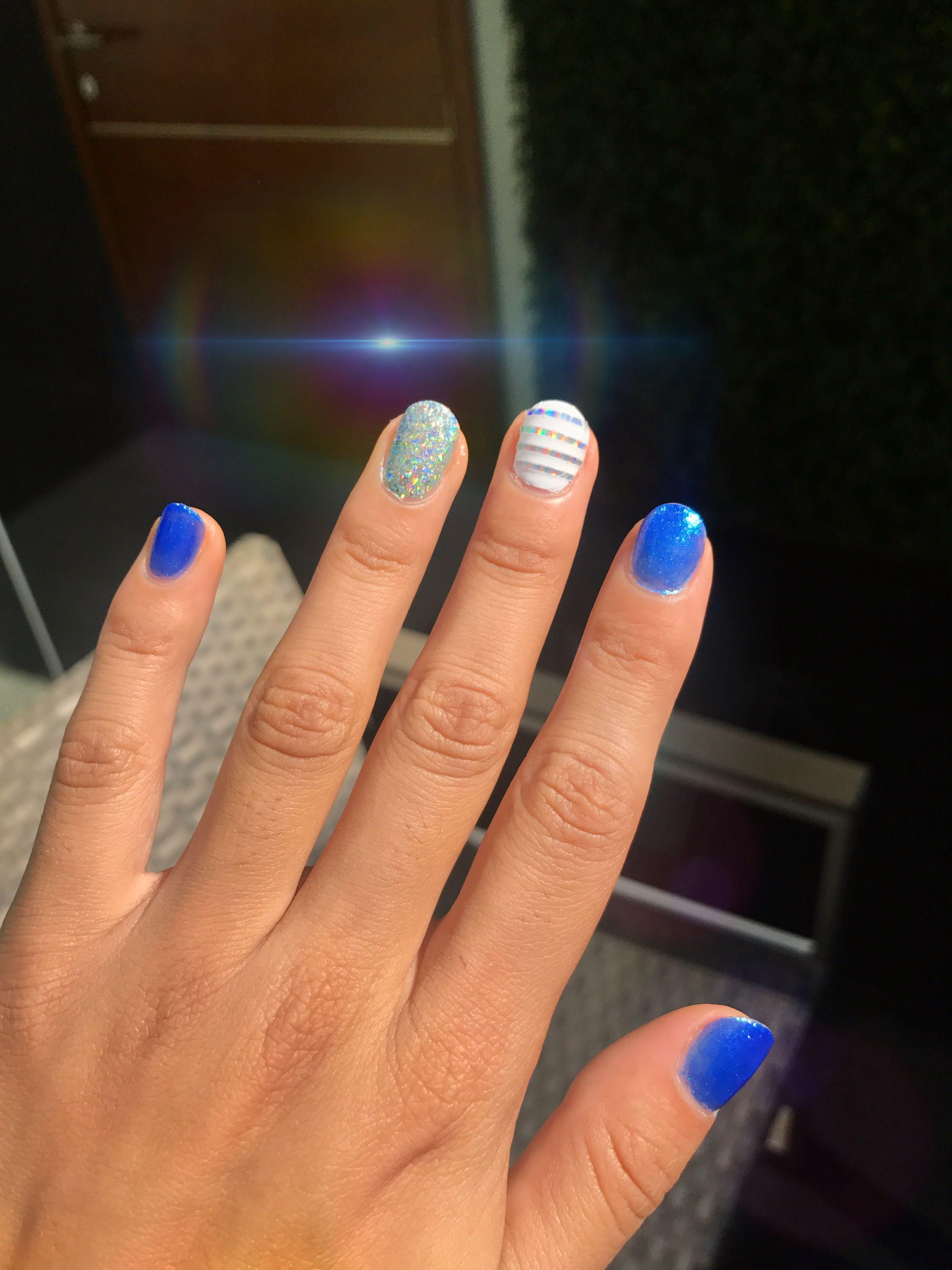Royal blue nails , holographic nail polish | nail designs ...