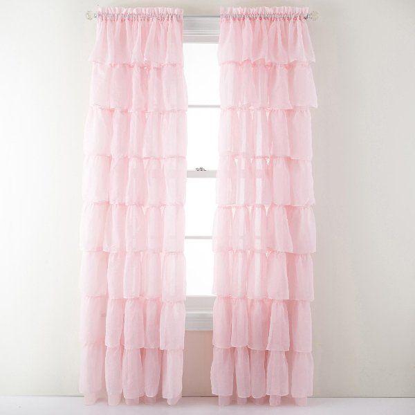 layered ruffle window curtain panel