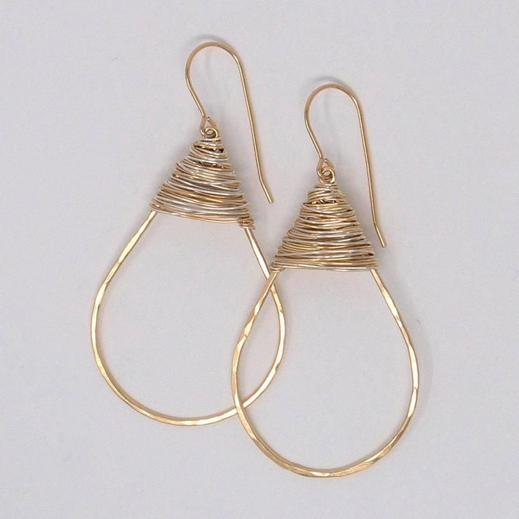 Photo of Goldfill & Sterling Silver Wire Wrapped Earrings