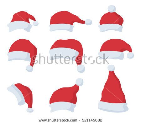 Set Of Santa Claus Red Hat In Cartoon Flat Style Santa Claus Red Hat Isolated On White Background Red Hats Cartoon Santa Claus