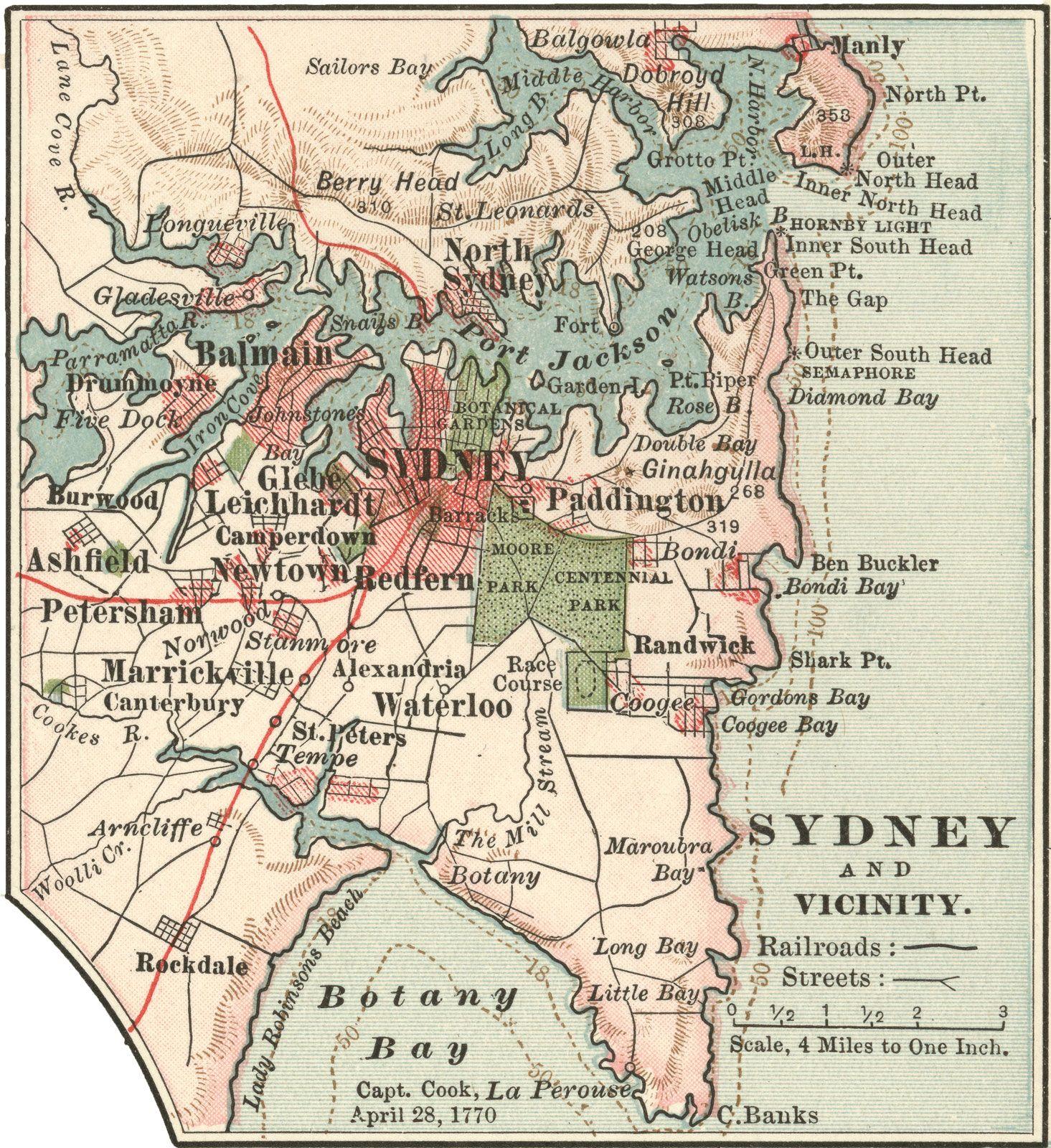 Australia Map 1900.Map Of Sydney 1900 Map Sydney Australia Sydney Map