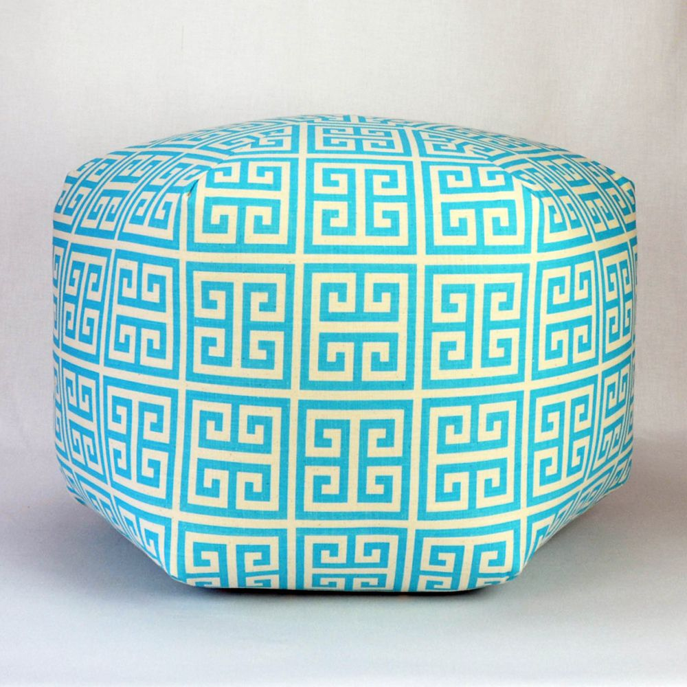 Greek Key Pouf