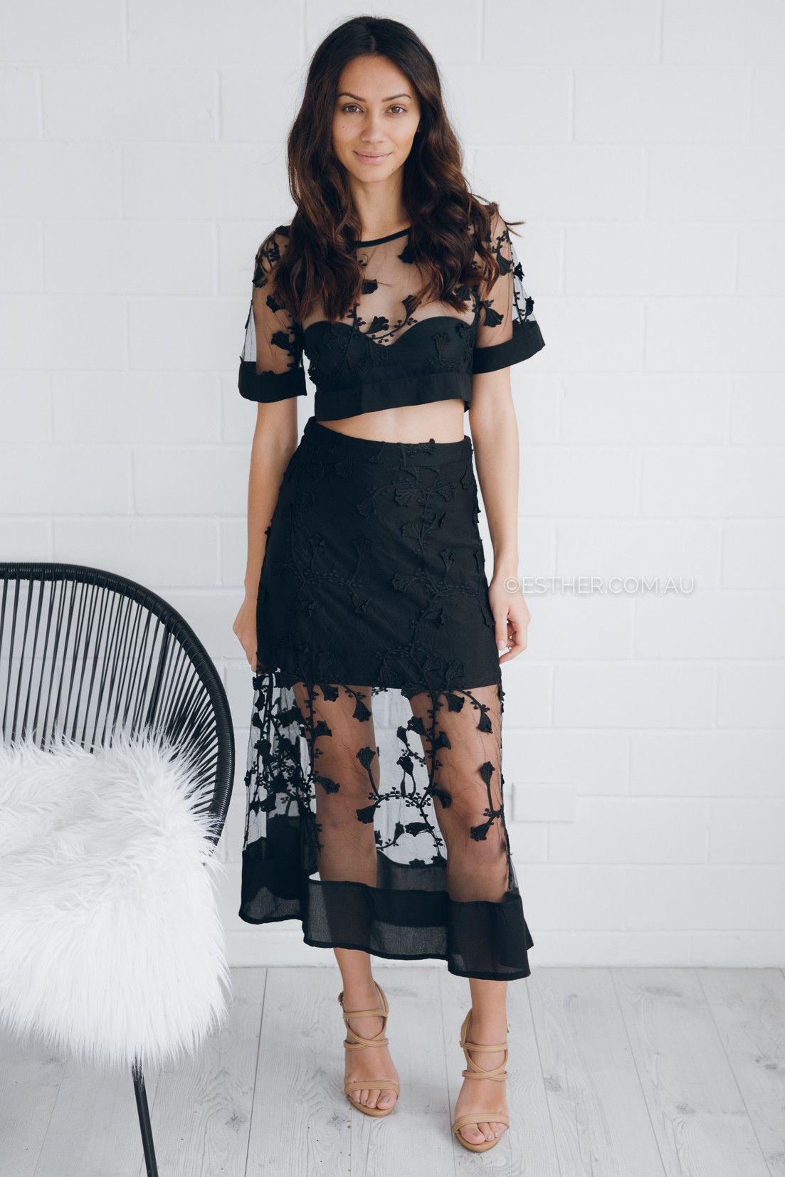 delilah lace two piece - black