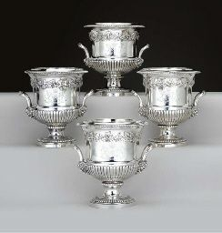Four Regency Silver Wine Coolers Mark Of Richard Sibley London Two 1812 And Two 1817 Each Campana Form On A Circular Bas Wine Cheap Wine Wine Fridge