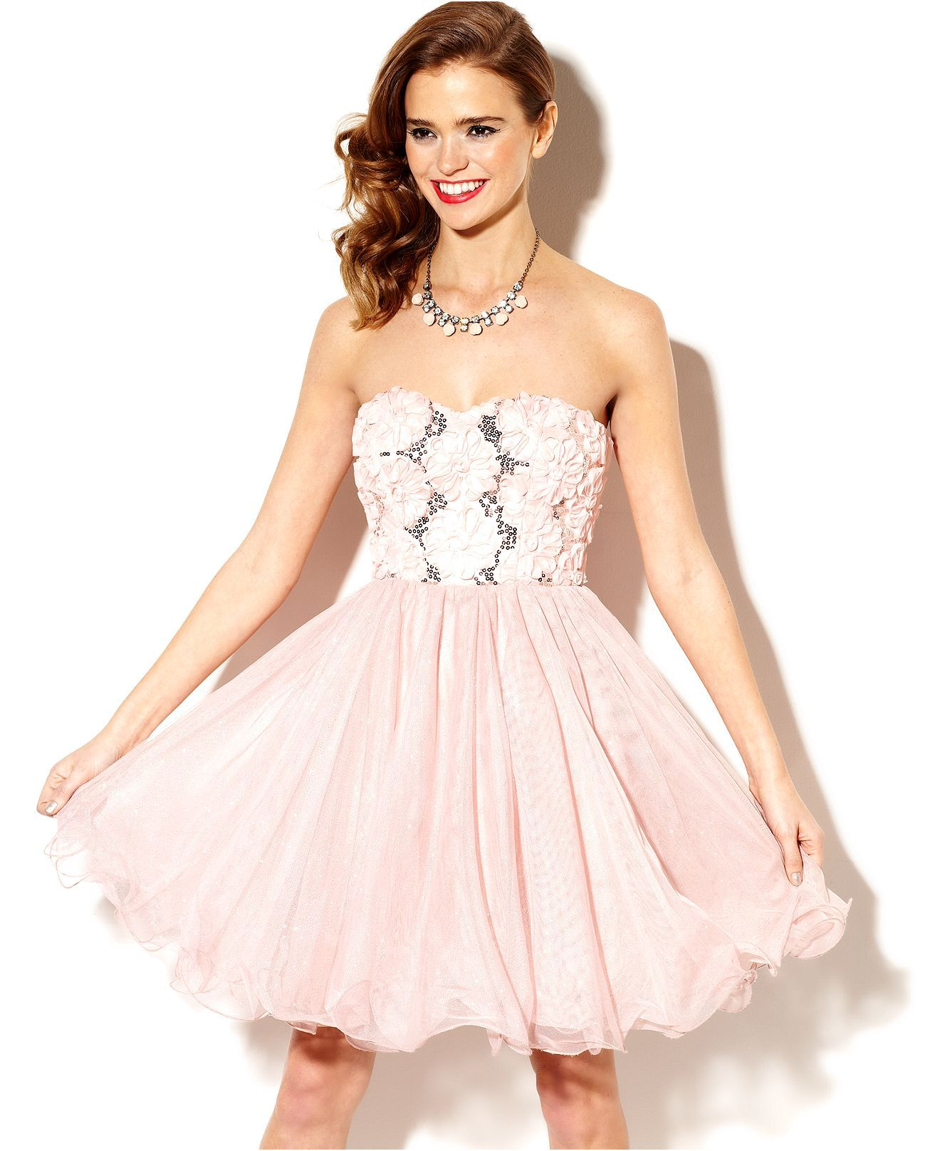Speechless Juniors Dress, Strapless Rosette Tulle - Juniors Prom