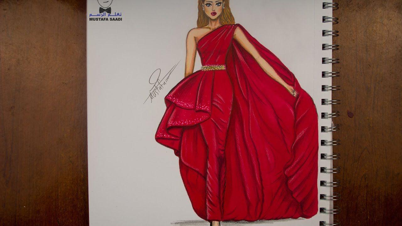 e38ca92a7 تعليم رسم وتصميم الازياء مع التلوين how to draw fashion   videoebi ...