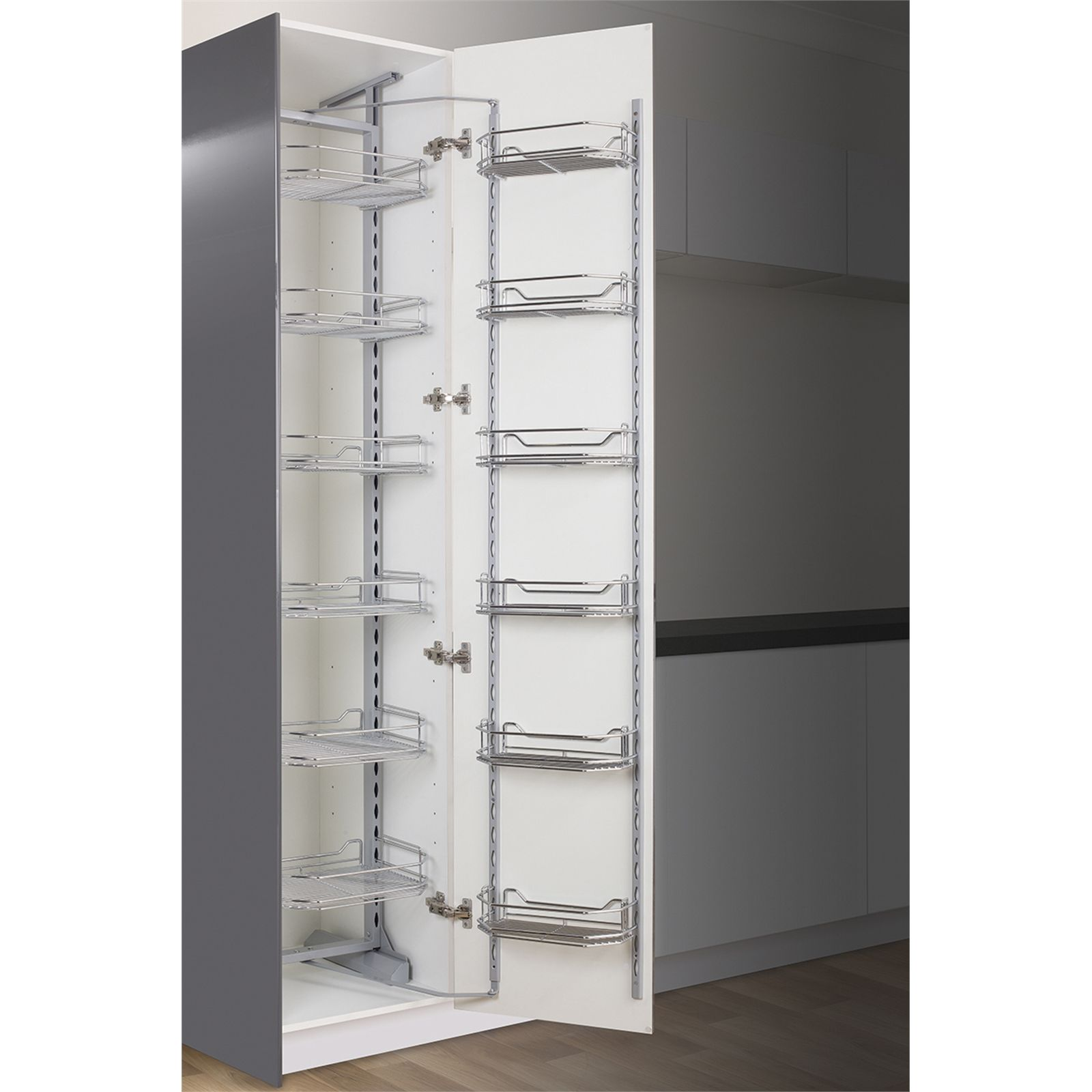 Kaboodle 450mm Chrome 6 Tier Pantry Pullout Baskets Pantry Shelving Corner Pantry Warehouse Shelving