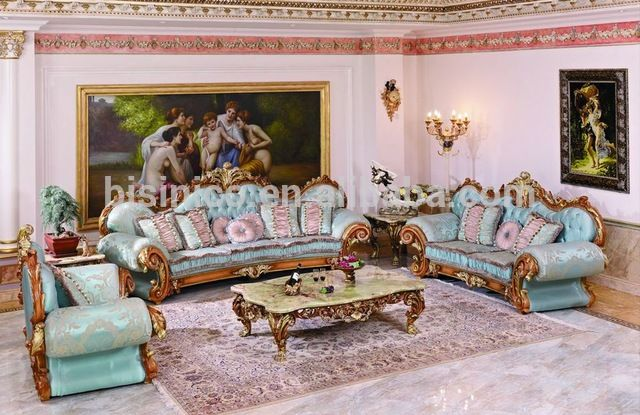 Source Luxury French Baroque Style Living Room Blue Sofa Set X2f Fancy Palace Style Wood Carving Uphol Living Room Sofa Set Chesterfield Living Room Furniture