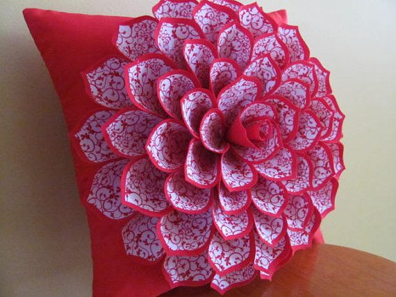 Sewing Tutorial For Pillow Cover: Fabric Flower Pillow Pattern SOPHIA FLOWER Felt от SewYouCanToo    ,