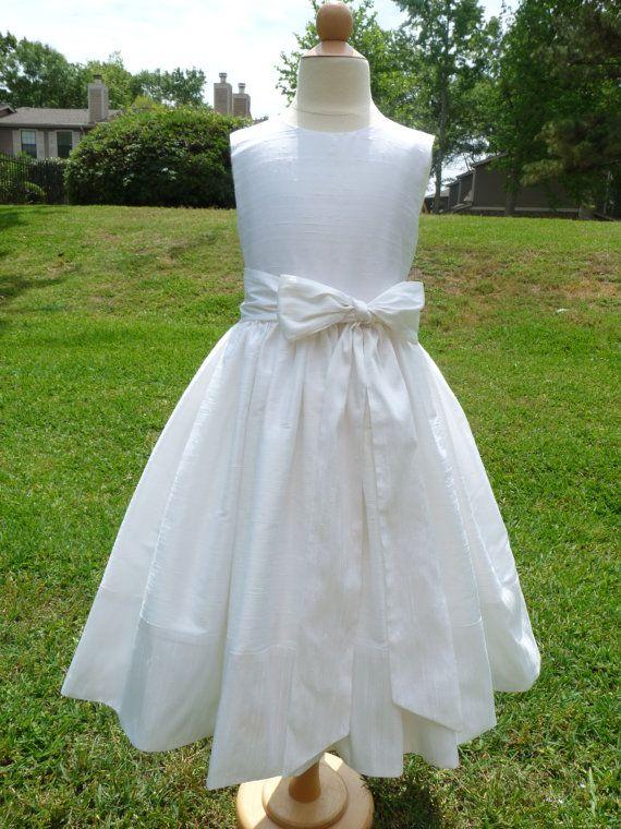 Silk, Ivory First communion Dress