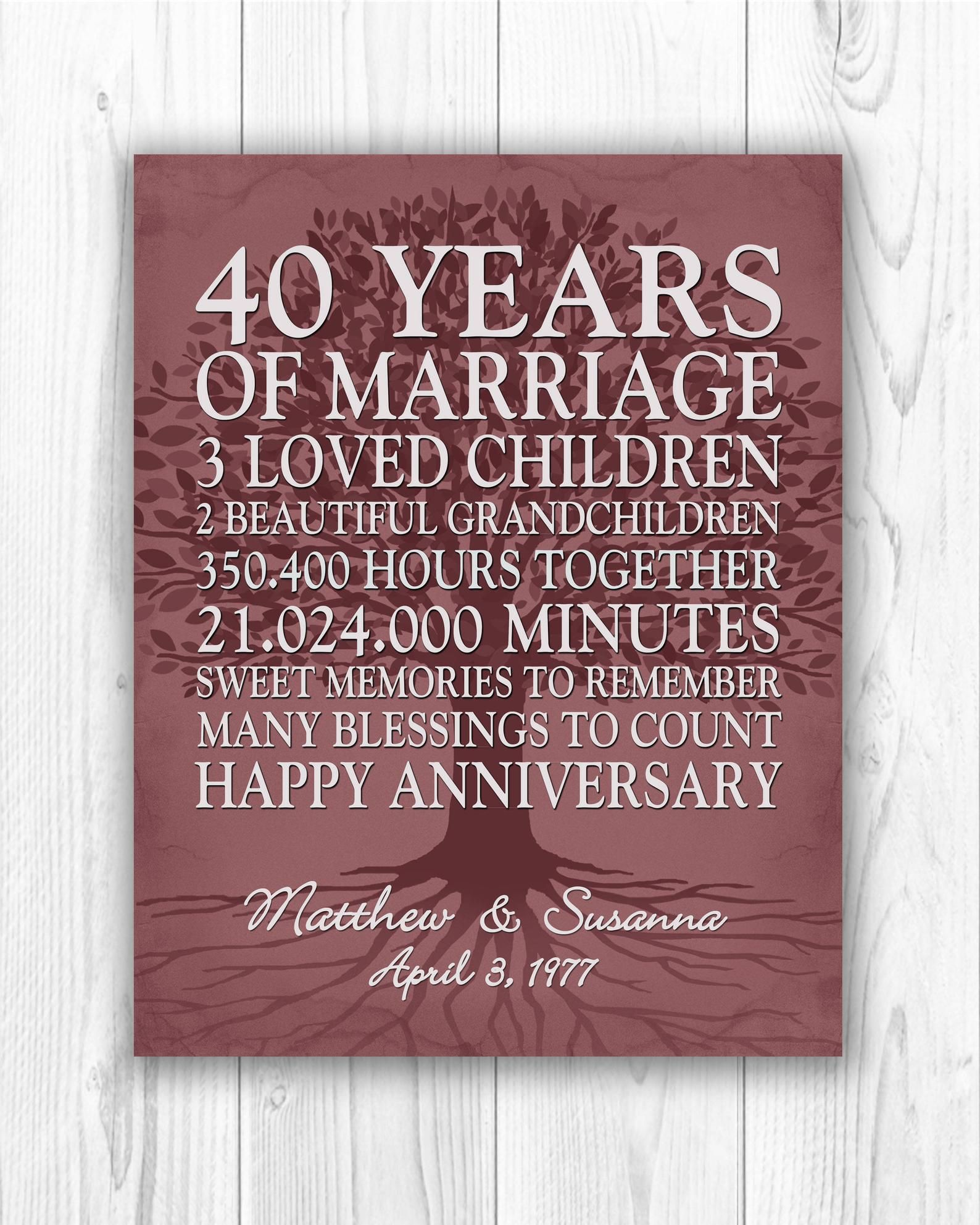 40th Anniversary Gift For Parents Personalized 40th Wedding Etsy 40th Wedding Anniversary Gifts Anniversary Gifts 40 Years Ruby Anniversary Gifts