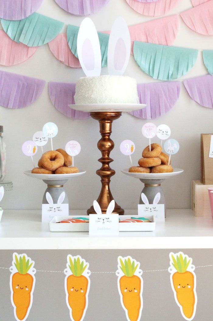 Little Bunny Party - Easter party decor, Easter birthday party, Bunny party, Easter birthday, Easter party, Bunny birthday - Flop your ears and wiggle your tail, this Little Bunny Party is positively swell! Hopping in with with custom stationery and cute decor, this little party, by Cristina La of My Party Design, out of Sydney, Australia, could be for Easter and more! Elements sure to perk up your ears from this sweet occasion, include Bunny Cupcake Wrappers Carrot Cookies Fluffy Bunny Cake Fringed Tissue Circle Garlands Adorable Bunnyeared Labels Fluffy Marshmallow Bunny Tails And a Cute Carrot Banner!