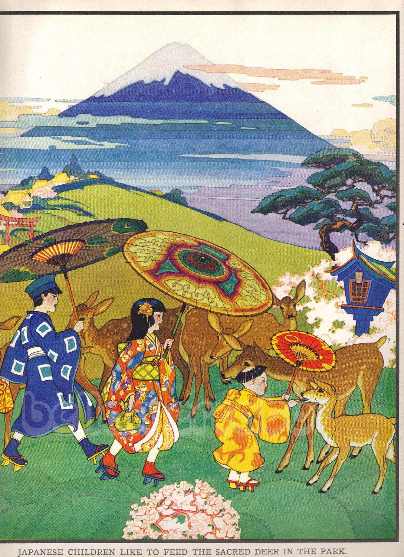 1920s Book Plate Japanese Children Feed Deer In