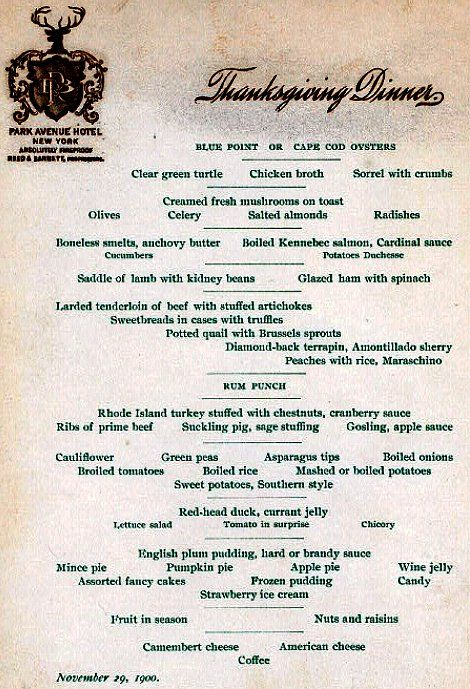Thanksgiving Dinner Menu From The Park Avenue Hotel Dated 1900