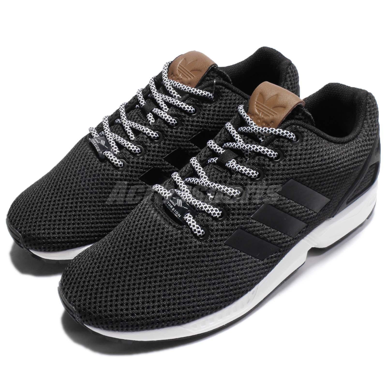 adidas originali zx flusso bianco nero uomini scarpe da corsa.