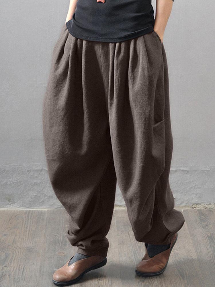 fdc53e18648 Casual Solid Elastic Waist Ruffles Harem Pants in 2019
