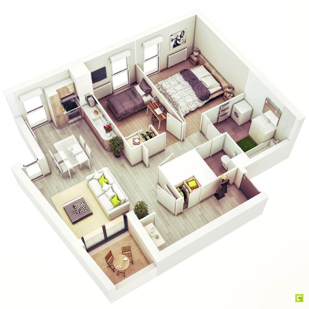 Plan Maison 3d D Appartement 2 Pieces En 60 Exemples 2