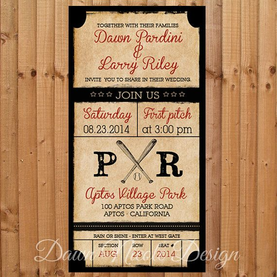 Digital 4x8 vintage baseball themed invitation by for 4x8 wedding invitations