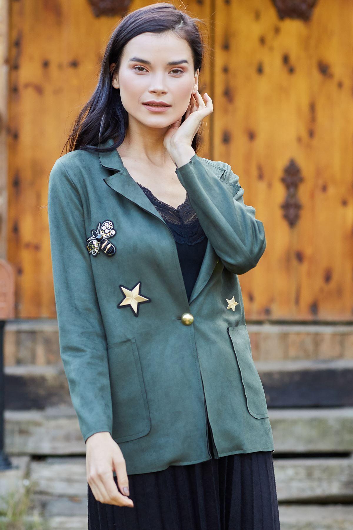 جاكيت Rock N Roll شامواه لون زيتي Chic Hanim Fashion Style Khaki