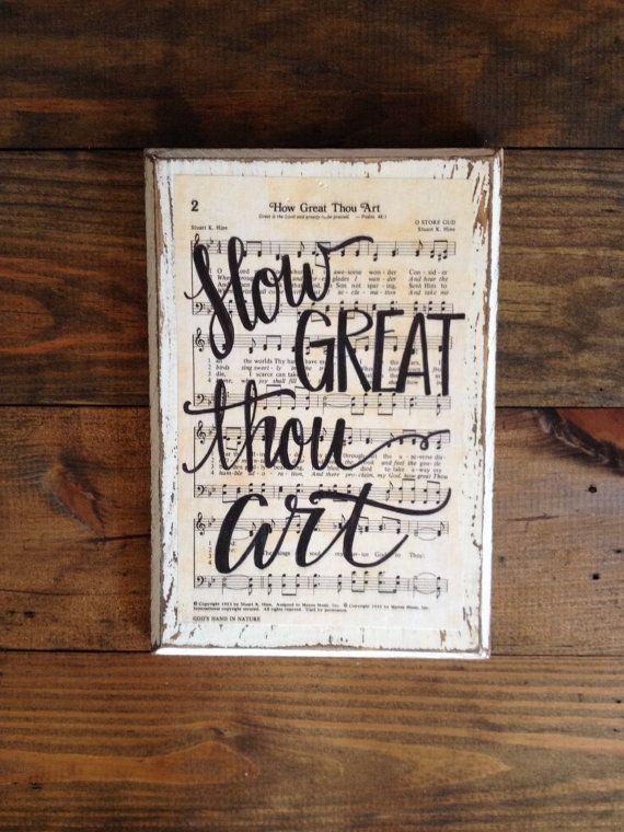 How Great Thou Art Hymn Wall Art Imperfect Dust Etsy Hymn Wall Art Hymnal Crafts Hymn Art
