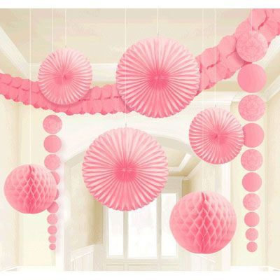 "Honeycomb Balls Decoration Damask Wedding Decorating Kitnew Pink Contains 2 Fans 8"" 2 Fans"