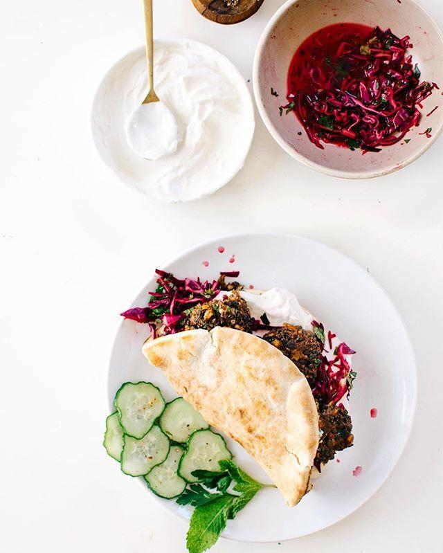 Lentil Feta Fritters! With fresh mint slaw & coriander yogurt + my @cdnlentils farm adventures in Saskatoon. Go see what a lentil plant looks like + me in a ! Link in profile. #LetsLentil #LoveALentil #sponsored