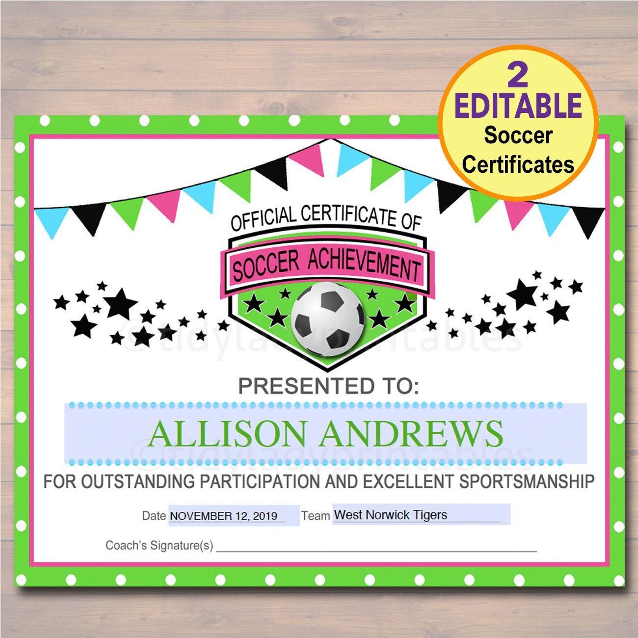 Editable Soccer Award Certificates Instant Download Team Soccer