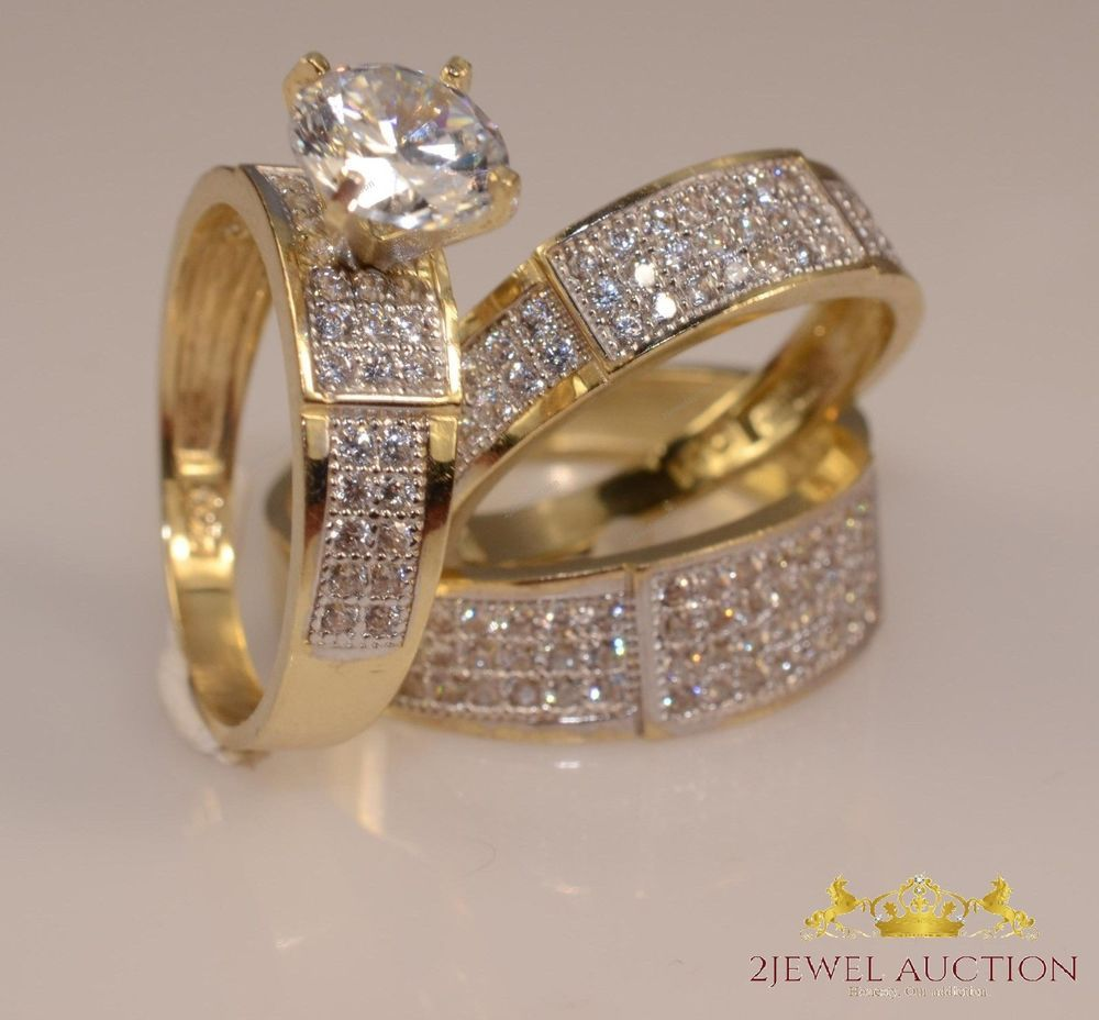 Diamond Wedding Rose Gold Over Trio His Hers Bridal Band Engagement Ring Set