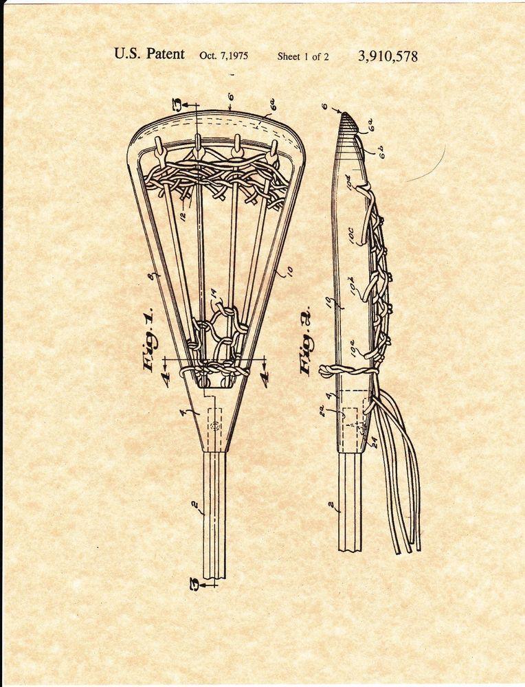 Patent Print - Vintage Lacrosse Stick 1975 Art Print