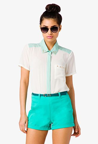 Pleated Colorblocked Shirt | FOREVER21 - 2041739758