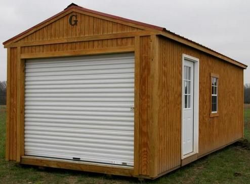 Portable 12 x 20 'Grandview' Garage stained in Honey Oak is the perfect location to store your golf cart, snowmobiles, ATV, crafting supplies or classic Mustang.