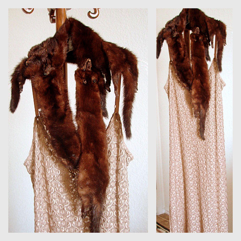 Glamorous 1930s Fur Shawl Cape Winter Mink Wrap Collar Vintage 40s 50s Real Fur Stole 4 Pellet Marten Cabaret Shrug. $78.00, via Etsy.