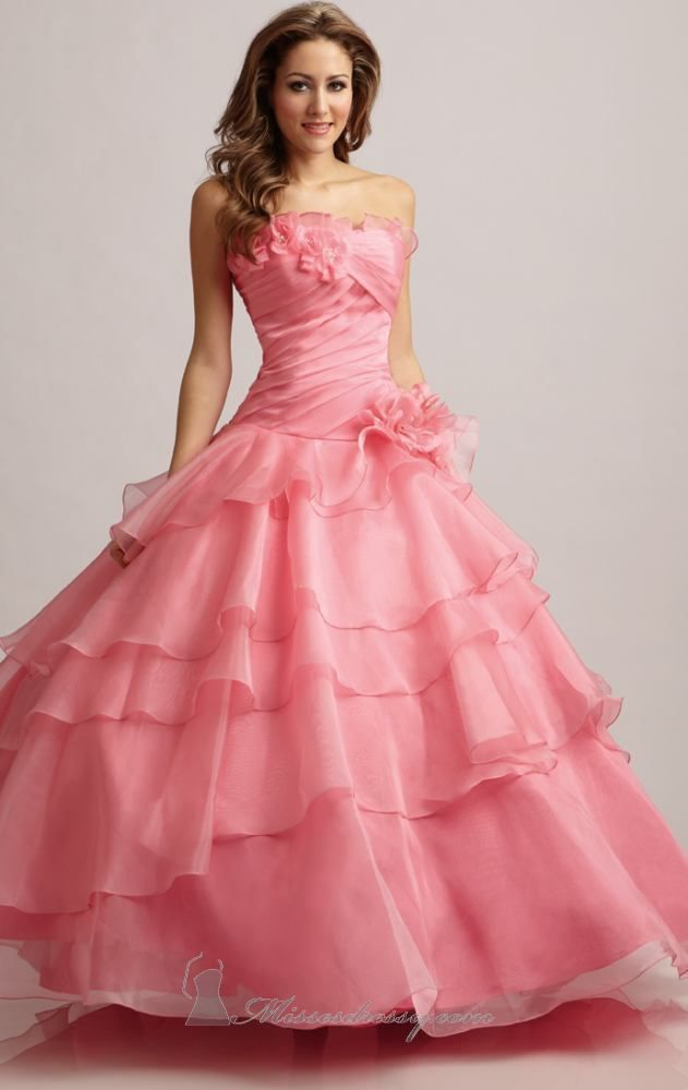 Elegant Pink Quinceanera Dresses 2014 Chiffon Ball Gown Dress for ...