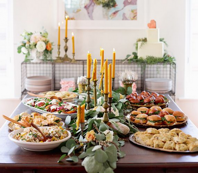16 Creative Ideas For Hosting Party In Small Spaces Pouted Com Wedding Catering Wedding Food Wedding Reception Food