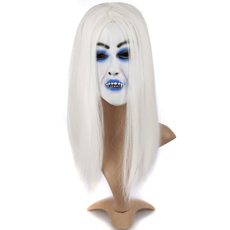 Click to Buy << White Mask Halloween Scary Toothy Horror Zombie ...