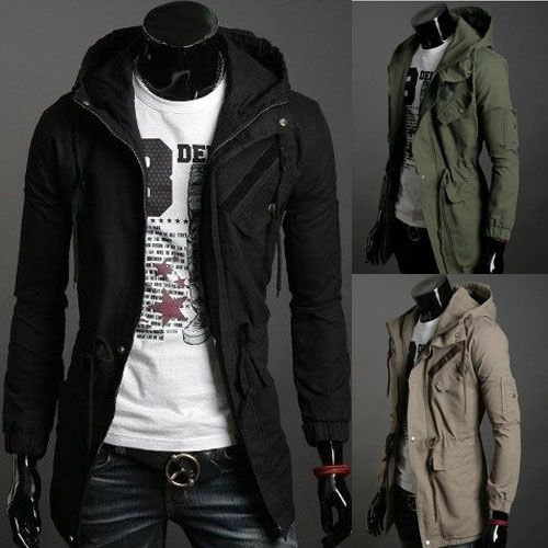 High Collar Jacket Men's Hoodies Zip Up Jackets Mens Trench Long ...