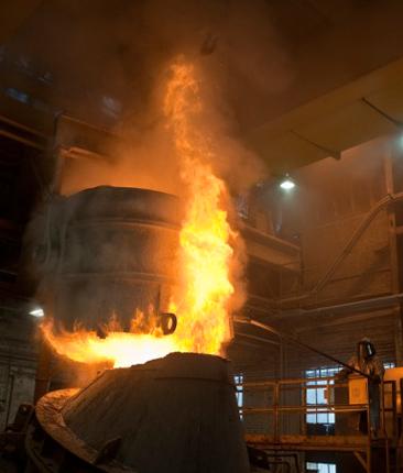 Flames boil out of the Argon Oxygen Decarbonization (AOD