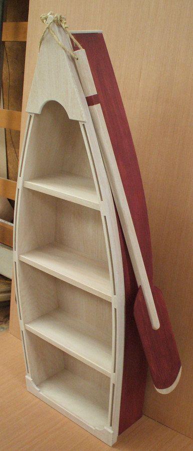 5 Foot RED Row Boat Bookshelf Bookcase Shelves Skiff Schooner Canoe Shelf Nautical Man Cave