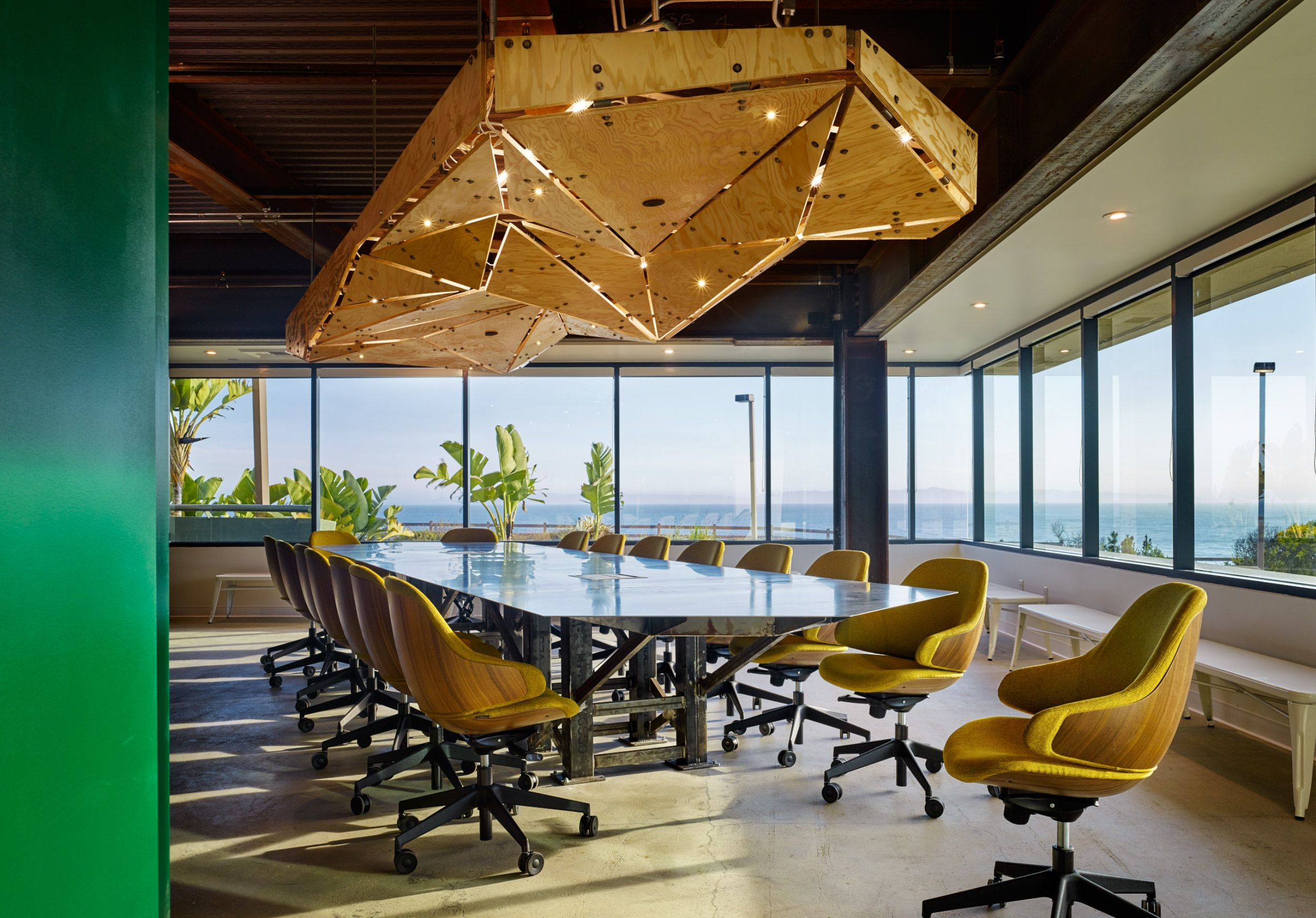 Suspended table by berstein architects - Kingdom Industry Architectural Design For Procore Plywood Clouds Over A Custom Steel Conference Room