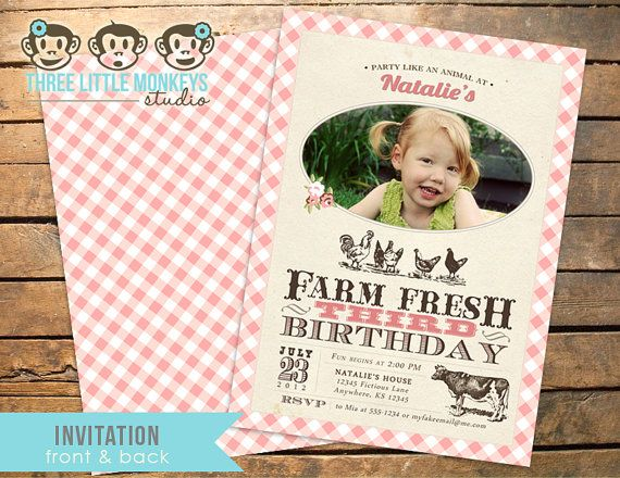 vintage girly farm birthday invites and printables from 3 little - fresh birthday party invitation designs
