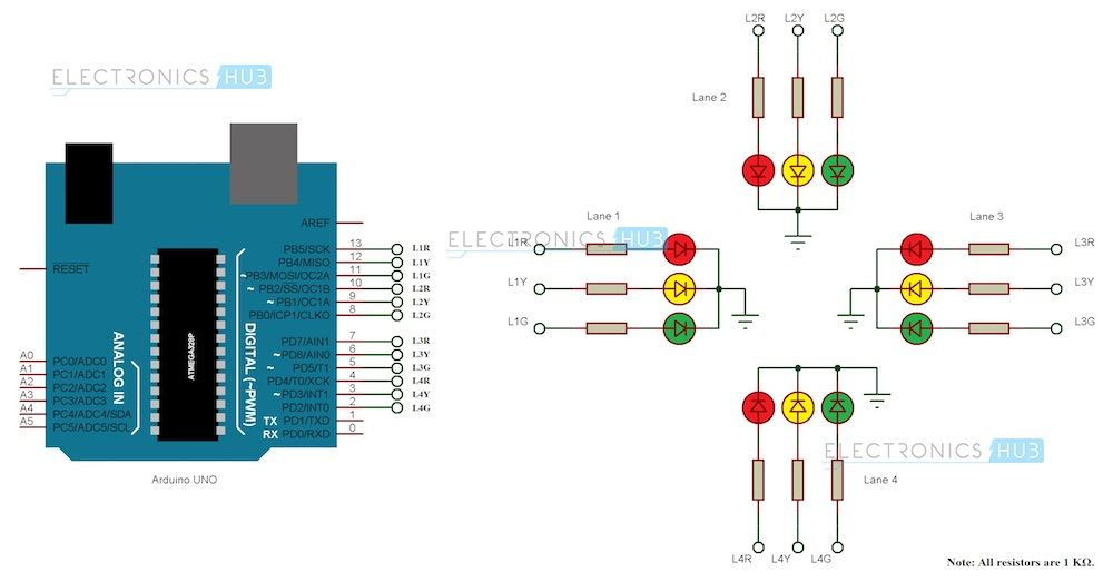 Arduino Traffic Light Controller Arduino Traffic Light Cool Arduino Projects