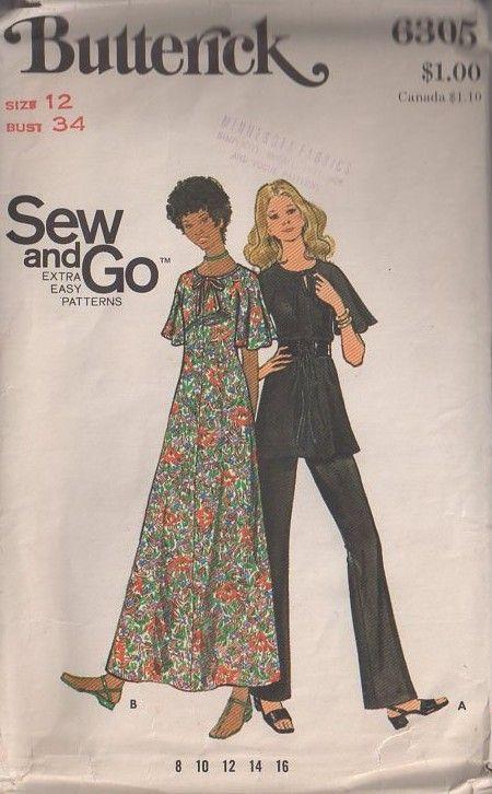 MOMSPatterns Vintage Sewing Patterns - Butterick 6305 Vintage 70\'s ...