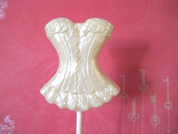 3 Chocolate Corset Lollipops White Lace by TheFrostedPetticoat, $6.60