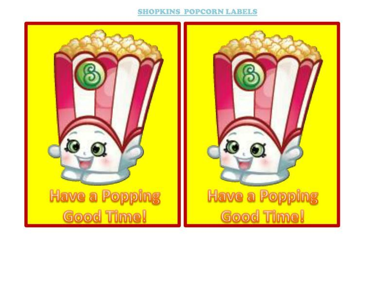 Shopkins Poppy Corn Popcorn Box Labels Free Printable   Instant Party