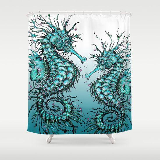 Cyan Seahorse Shower Curtain