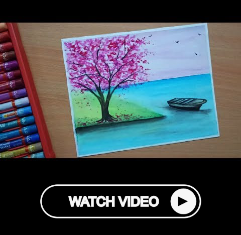 Spring Season Drawing With Oil Pastels For Beginners Spring Tree Scenery Drawing Oil Pastel Oil Pastel Drawings Oil Pastel Art